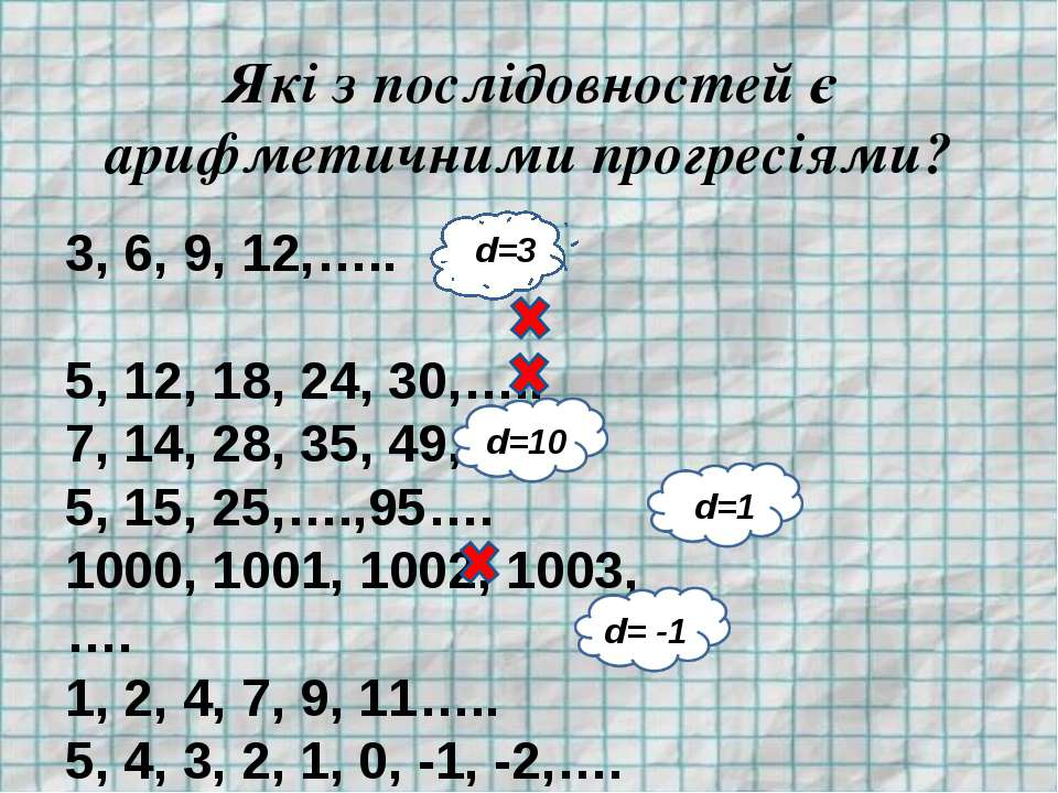 Які з послідовностей є арифметичними прогресіями? 3, 6, 9, 12,….. 5, 12, 18, ...