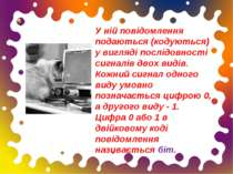 У ній повідомлення подаються (кодуються) у вигляді послідовності сигналів дво...