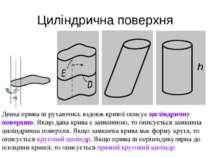 Циліндрична поверхня m Деяка пряма m рухаючись вздовж кривої описує циліндрич...