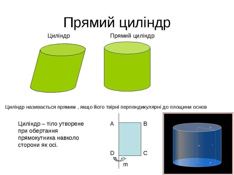 Прямий циліндр Циліндр називається прямим , якщо його твірні перпендикулярні ...