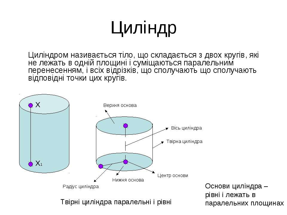 Циліндр Циліндром називається тіло, що складається з двох кругів, які не лежа...