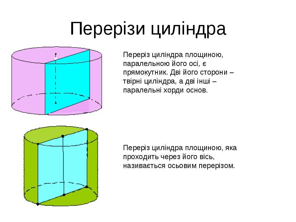 Перерізи циліндра Переріз циліндра площиною, паралельною його осі, є прямокут...