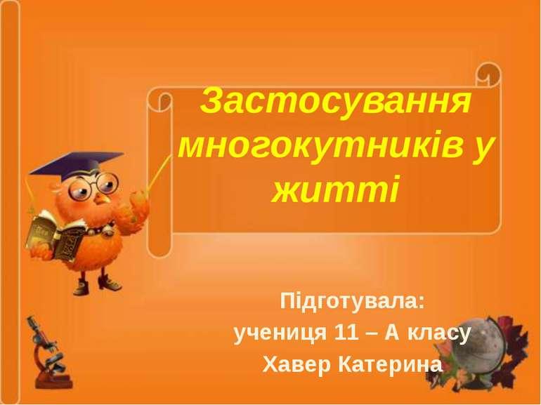 Застосування многокутників у житті Підготувала: учениця 11 – А класу Хавер Ка...