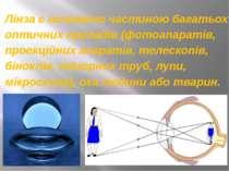 Лінза є головною частиною багатьох оптичних приладів (фотоапаратів, проекційн...