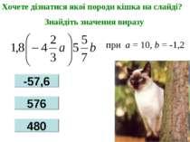 при a = 10, b = -1,2 Хочете дізнатися якої породи кішка на слайді? Знайдіть з...