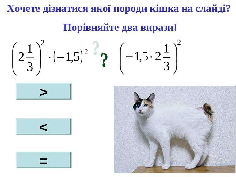 Хочете дізнатися якої породи кішка на слайді? Порівняйте два вирази! > < =