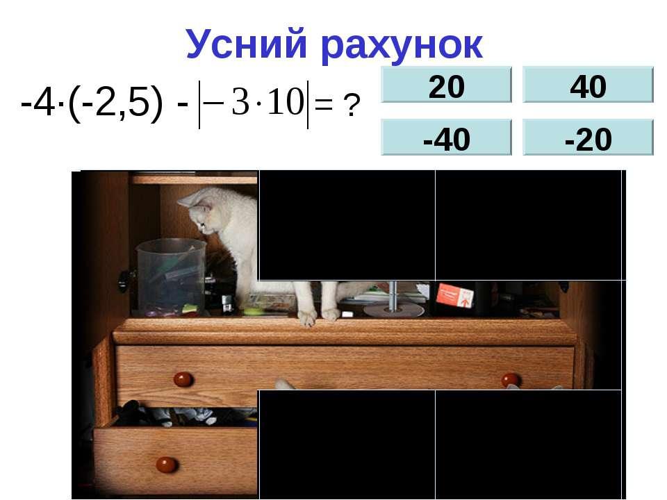 Усний рахунок -4∙(-2,5) - = ? 20 -40 40 -20