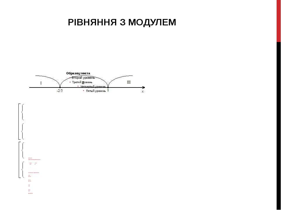 1.3 |5х+2|=3-3х Прирівнюємо під модульний вираз до нуля: 5х+2=0 3-3х=0 х=-2/5...