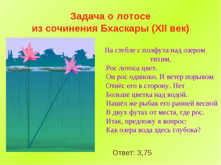 Задача о лотосе из сочинения Бхаскары (XII век) На стебле с полфута над озеро...