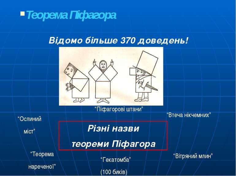 """Теорема Піфагора Відомо більше 370 доведень! Різні назви теореми Піфагора """"Ос..."""