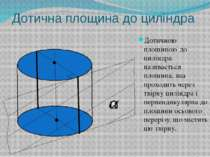 Дотична площина до циліндра Дотичною площиною до циліндра називається площина...