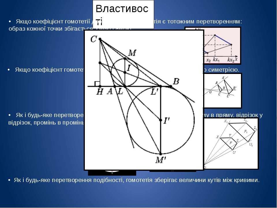 Властивості • Якщо коефіцієнт гомотетії дорівнює 1, то гомотетія є тотожним п...