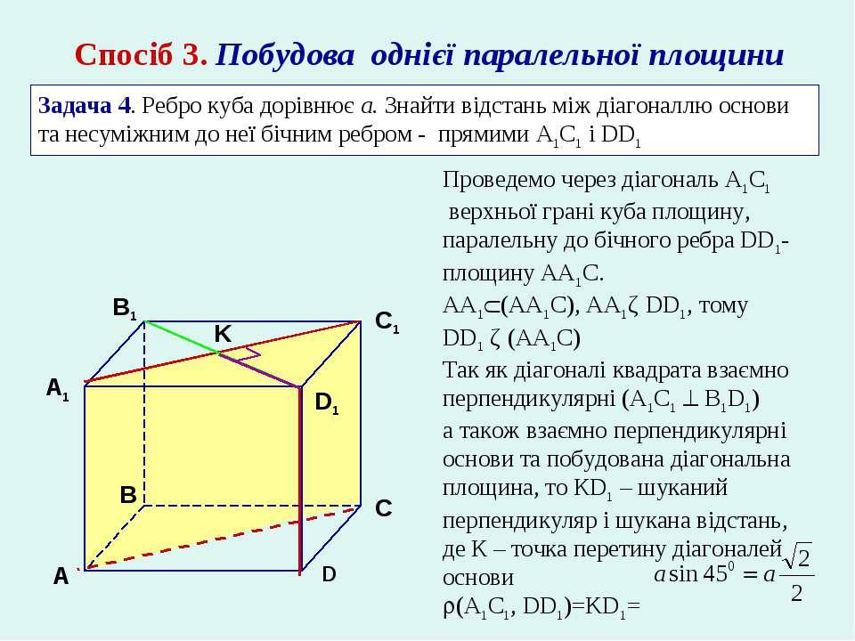 Спосіб 3. Побудова однієї паралельної площини Задача 4. Ребро куба дорівнює а...