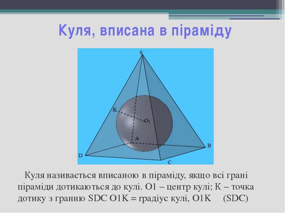 Куля, вписана в піраміду Куля називається вписаною в піраміду, якщо всі грані...