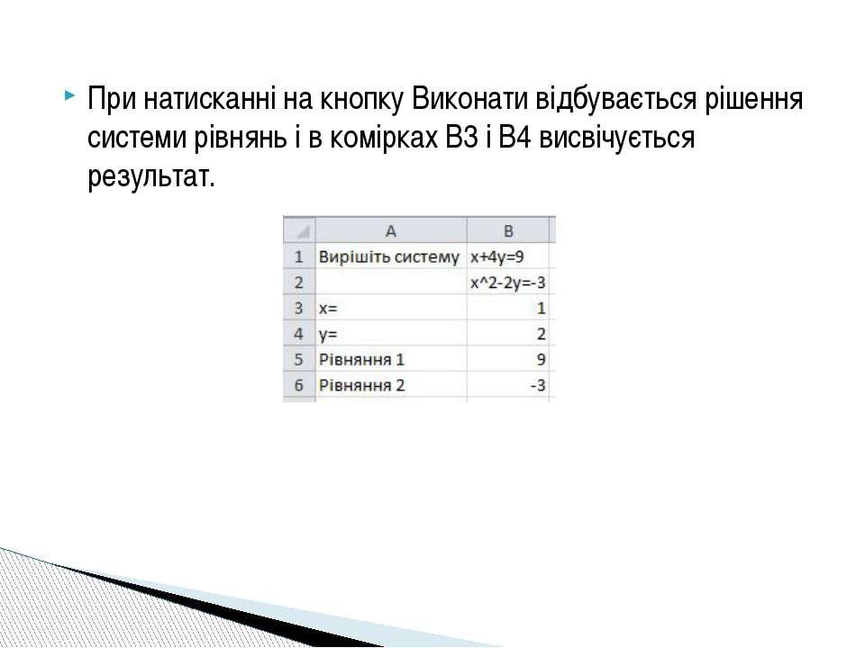 При натисканні на кнопку Виконати відбувається рішення системи рівнянь і в ко...