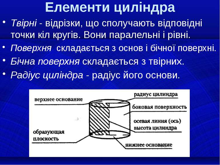 Елементи циліндра Твірні - відрізки, що сполучають відповідні точки кіл кругі...