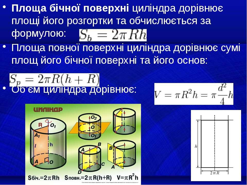 Площа бічної поверхні циліндра дорівнює площі його розгортки та обчислюється ...