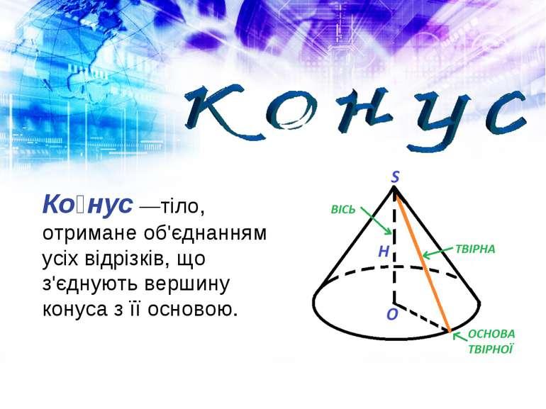 Ко нус —тіло, отримане об'єднанням усіх відрізків, що з'єднують вершину конус...