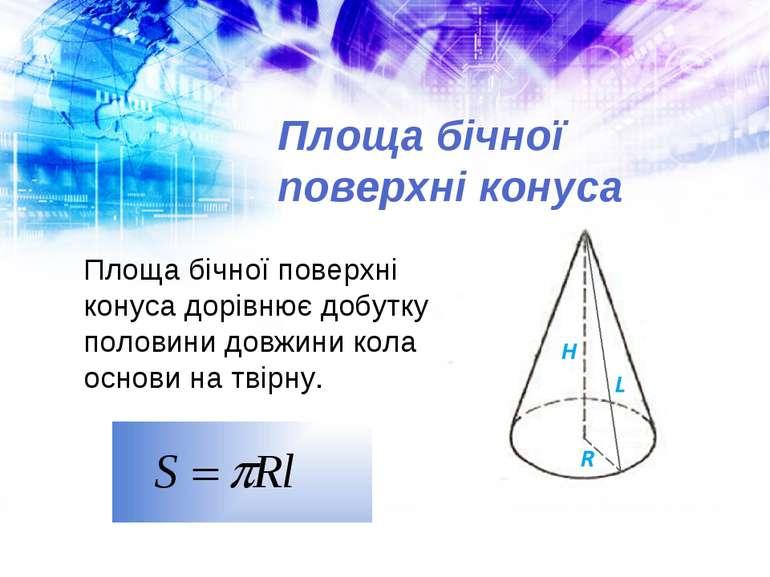 Площа бічної поверхні конуса Площа бічної поверхні конуса дорівнює добутку по...