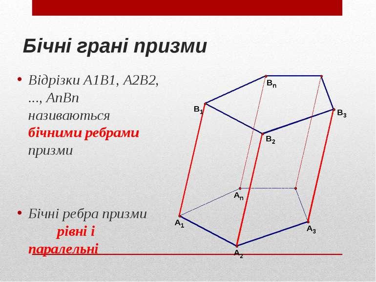 Бічні грані призми Відрізки A1B1, A2B2, ..., AnBn називаються бічними ребрами...