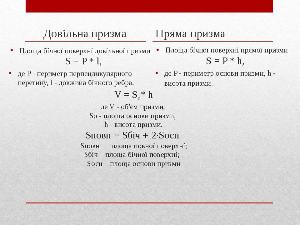 V =So* h де V - об'єм призми, So - площа основи призми, h - висота призми. S...