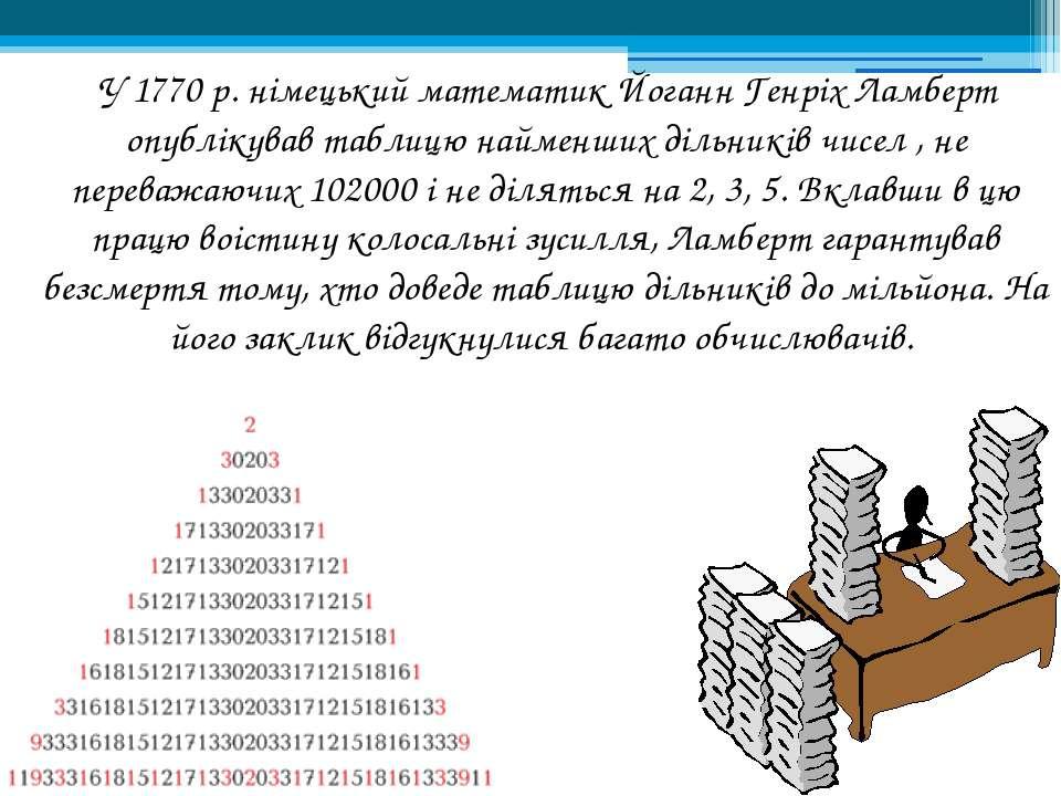 У 1770 р. німецький математик Йоганн Генріх Ламберт опублікував таблицю найме...