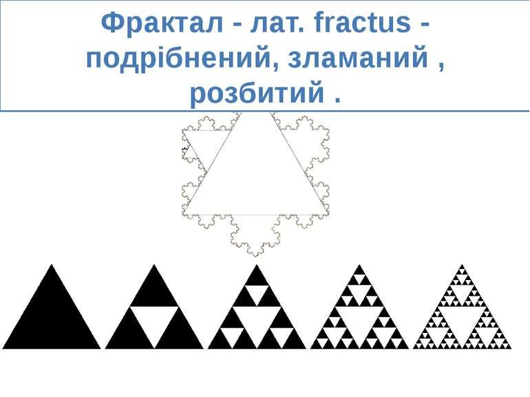 Фрактал - лат. fractus - подрібнений, зламаний , розбитий .