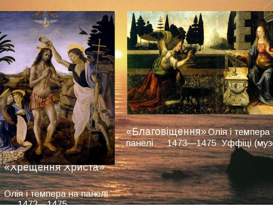 «Хрещення Христа» Олія і темпера на панелі 1473—1475 «Благовіщення» Олія і те...