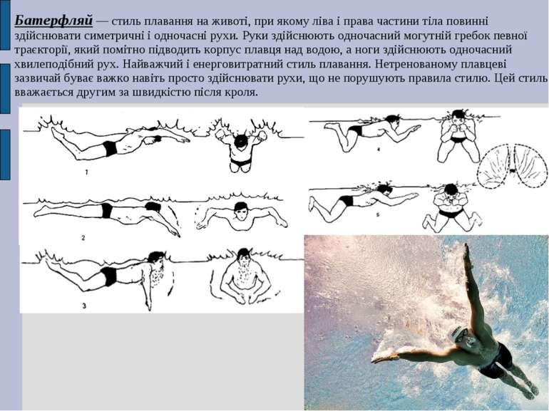 Батерфляй — стиль плавання на животі, при якому ліва і права частини тіла пов...