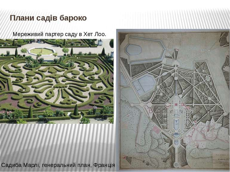 Плани садів бароко Мереживий партер саду в Хет Лоо. Садиба Марлі, генеральний...