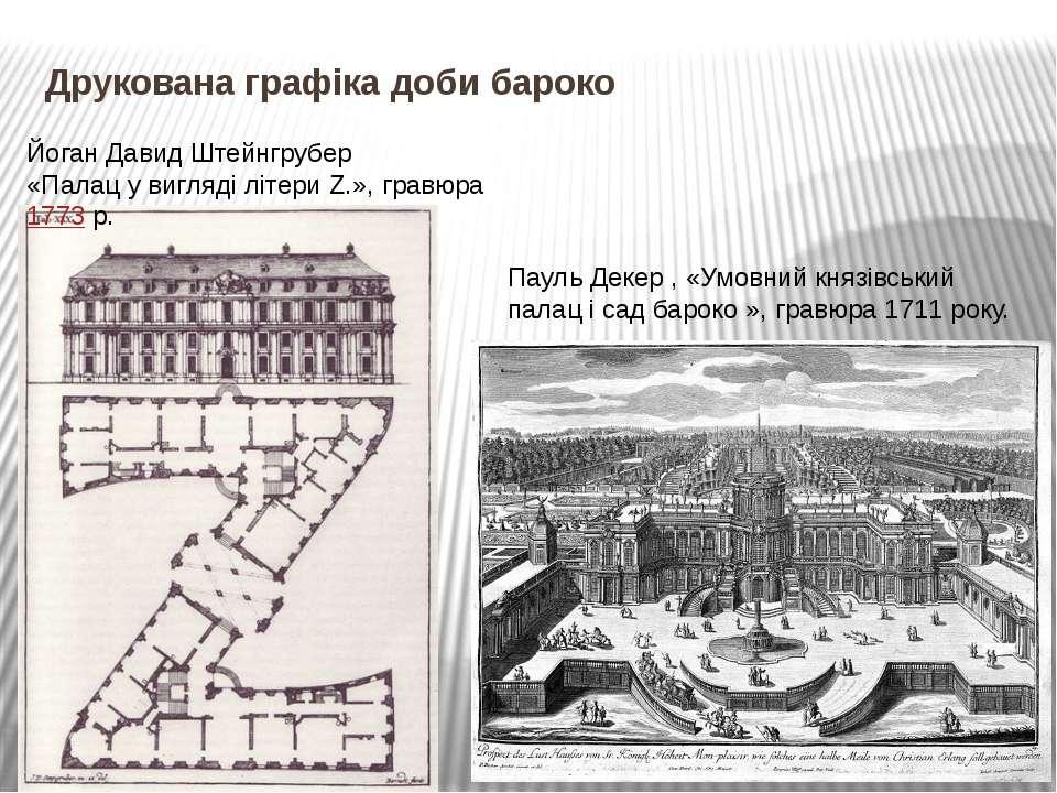 Друкована графіка доби бароко Йоган Давид Штейнгрубер «Палац у вигляді літери...