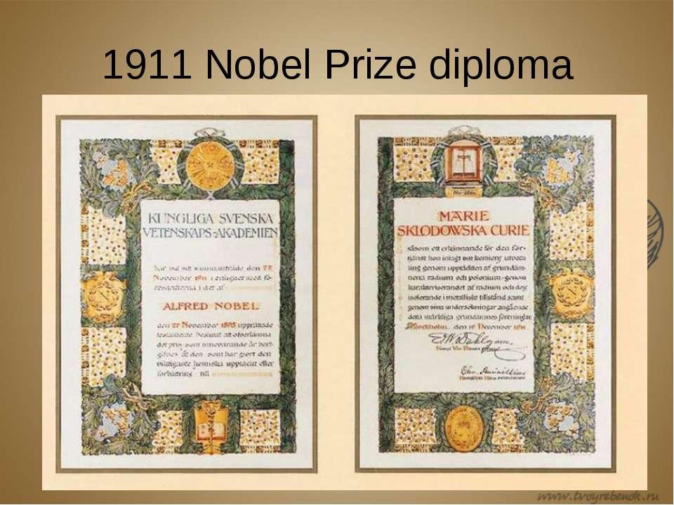 1911 Nobel Prize diploma