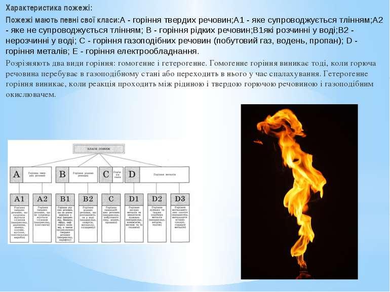 Характеристика пожежі: Пожежі мають певні свої класи:A - горіння твердих речо...