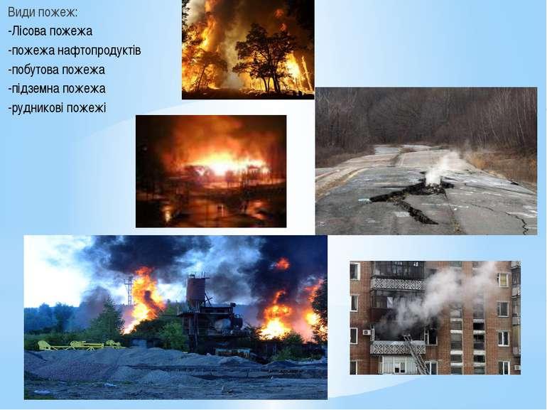 Види пожеж: -Лісова пожежа -пожежа нафтопродуктів -побутова пожежа -підземна ...