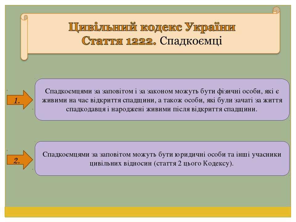 1. 2. Спадкоємцями за заповітом і за законом можуть бути фізичні особи, які є...