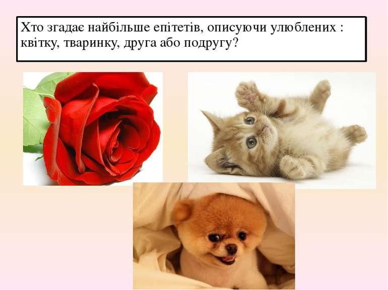 Хто згадає найбільше епітетів, описуючи улюблених : квітку, тваринку, друга а...