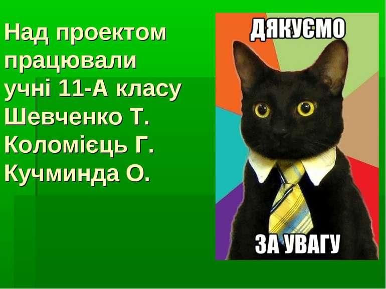 Над проектом працювали учні 11-А класу Шевченко Т. Коломієць Г. Кучминда О.