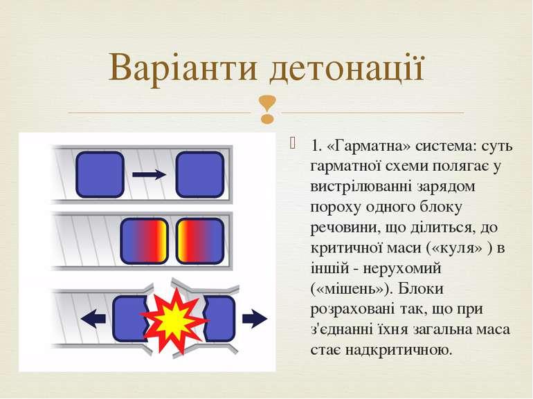 1. «Гарматна» система: суть гарматної схеми полягає у вистрілюванні зарядом п...