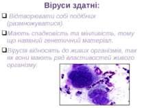 Віруси здатні: Відтворювати собі подібних (размножуватися). Мають спадковість...