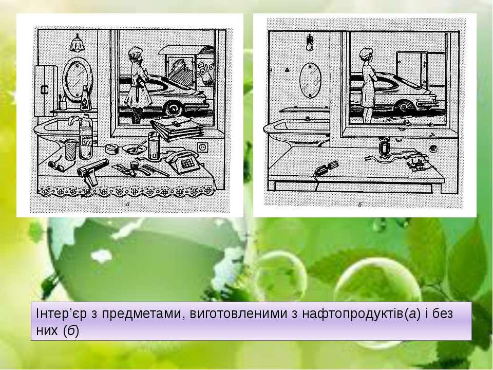 Інтер'єр з предметами, виготовленими з нафтопродуктів(а) і без них (б)