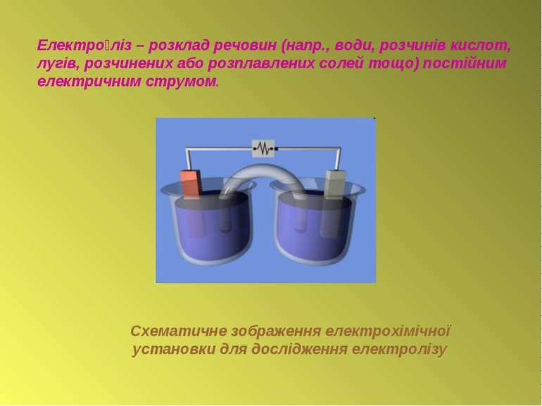 Електро ліз – розклад речовин (напр., води, розчинів кислот, лугів, розчинени...