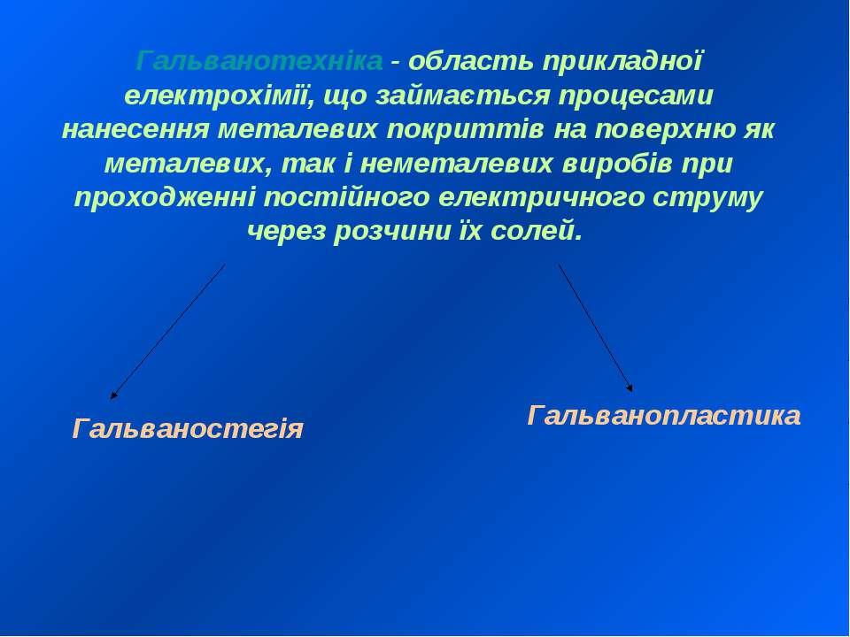 Гальванотехніка - область прикладної електрохімії, що займається процесами на...