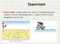 Траєкторія Траєкторія - деяка лінія, яку описує тіло(матеріальна точка) з час...