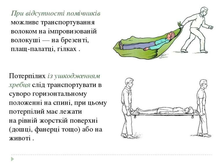 Потерпілих із ушкодженням хребця слід транспортувати в суворогоризонтальному...