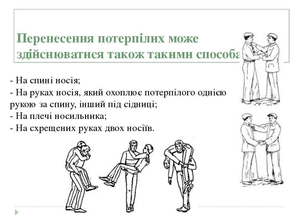 Перенесення потерпілих може здійснюватися також такими способами: - На спині...