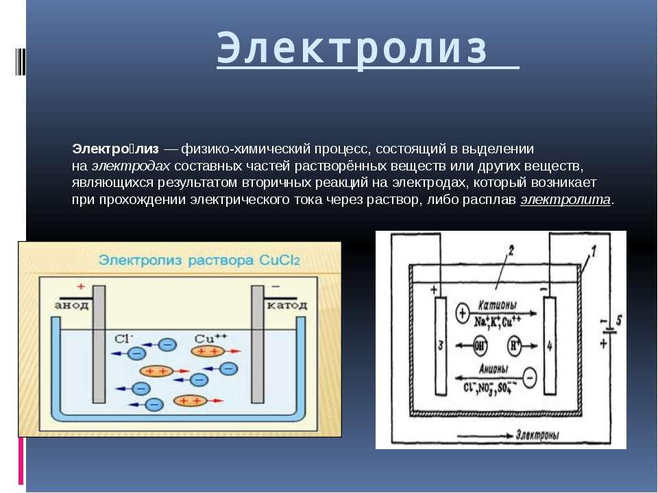Электролиз Электро лиз— физико-химический процесс, состоящий в выделении на...