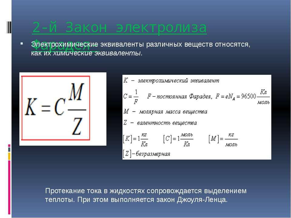 2-й Закон электролиза Фарадея- Электрохимические эквиваленты различных вещест...
