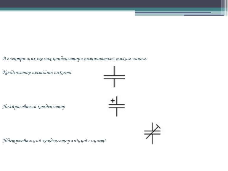 В електричних схемах конденсатори позначаються таким чином: Конденсатор пості...