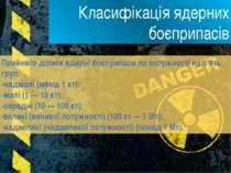 Класифікація ядерних боєприпасів Прийнято ділити ядерні боєприпаси по потужно...