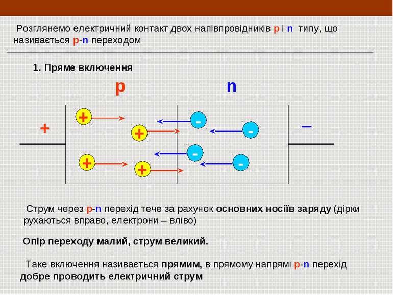 Розглянемо електричний контакт двох напівпровідників p і n типу, що називаєть...